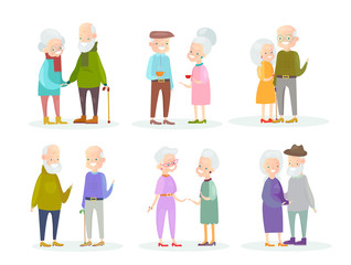 Vector illustration set of cute and nice old people couples in different situations and poses on white background. Old man and woman speaking and walking, smiling and standing together, old friends