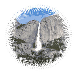 Yosemite Waterfall, US National Park, California - Detailed Vector Graphic, Bumper Sticker Idea
