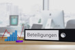 Firmenbeteiligung. Ordner beschriftet mit dem Wort Beteiligungen liegt neben Diagrammen auf einem Schreibtisch. Büro im Hintergrund.