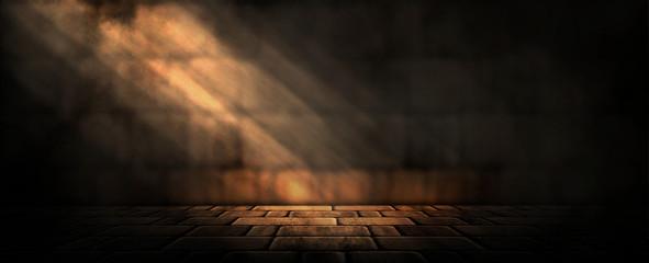 Fotomurales - Background of an empty dark-black room. Empty brick walls, lights, smoke, glow, rays