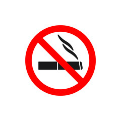 No smoking symbol Black silhouette of cigarette in red crossed circle. Forbidden sign with cigarette. Prohibition sign.
