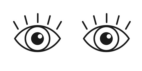Black isolated outline icon of pair eyes with eyelash on white background. Set of line Icons of open and closed eyes. Vision.