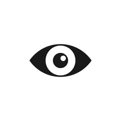 Black isolated icon of eye on white background. Icon of open eye. Vision.