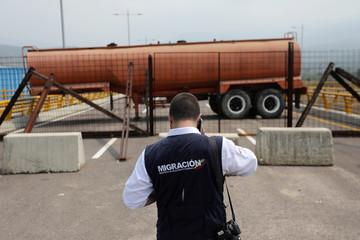 Fuel tank blocks the vehicular passage on Tienditas cross-border bridge between Colombia and Venezuela, in Cucuta