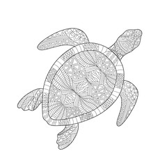 Isolated hand drawn black outline monochrome abstract ornate turtle on white background. Ornament of curve lines. Page of coloring book.