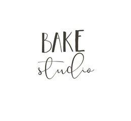 Hand drawn vector abstract modern cartoon cooking time fun illustrations icons lettering logo design with Bake studio calligraphy isolated on white background