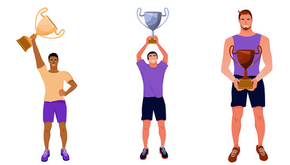 Sport award illustration. Winners with gold, silver and bronze trophy cups. Vector flat illustration on white background.