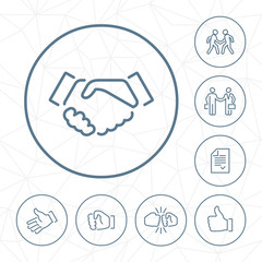 Vector handshake outline icon set in circle button with geometric seamless background.