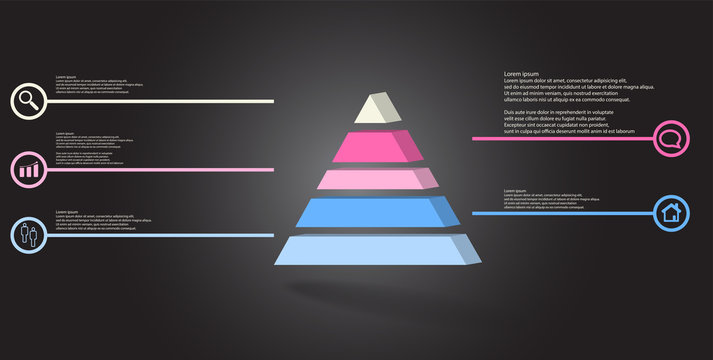 3D illustration infographic template with embossed triangle divided to five parts