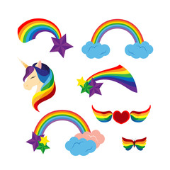 Unicorn with closed eyes rainbows, stars. Heart with rainbow colored wings. Butterfly.