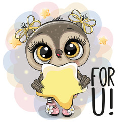 Cartoon Owl girl with star on the stars background