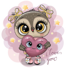 Cartoon Owl girl with heart on the stars background
