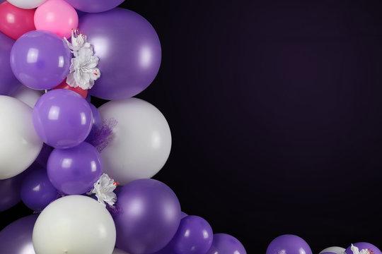 Balloons mit schwarzem Hintergrund - lila rosa pink - hintergrund für Geburtstag, Hochzeit, Babyparty, Feste und Veranstaltungen