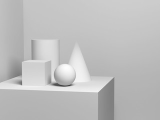 White geometric shapes. 3d render illustration