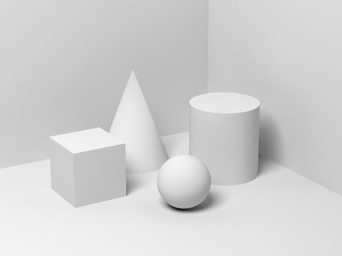 Abstract still life installation with white primitives