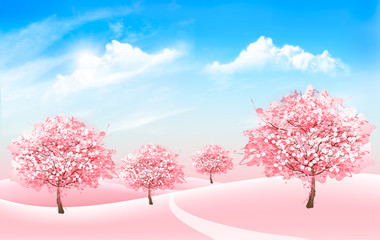 Spring nature background with blossom sakura trees and blue sky with clouds. Vector.