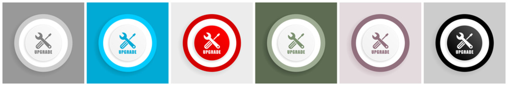 Upgrade icon set, vector illustrations in 6 options for web design and mobile applications