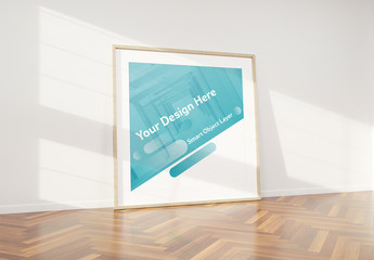Wooden Frame Leaning Against Wall Mockup