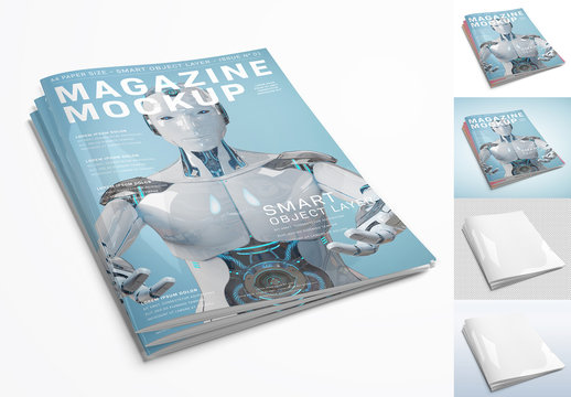 Stack of Magazines Isolated on White Background Mockup
