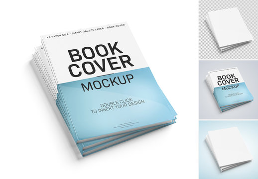 Stack of Books Isolated on White Background Mockup