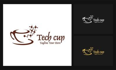 tech cup icon business vector logo