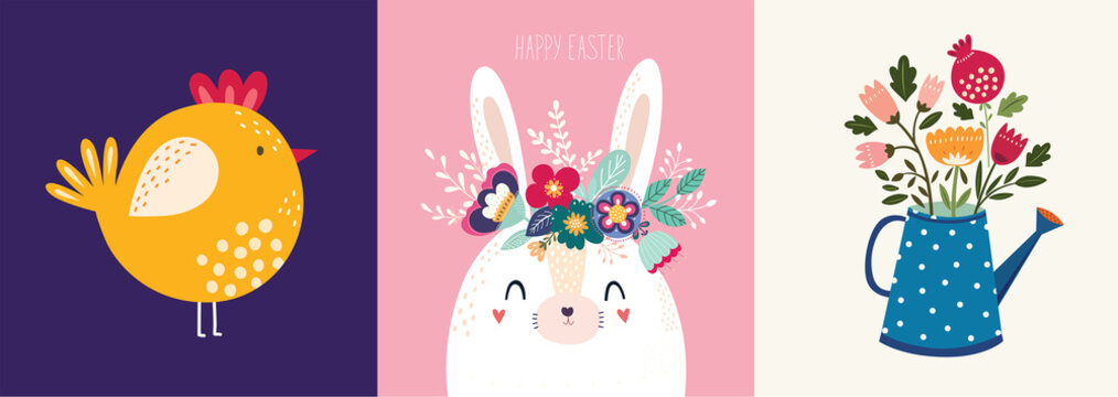 Decorative illustration with bird, bunny, flowers in the watering can