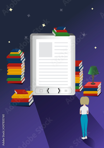 Online mobile library vector concept  E-books 3d illustration with