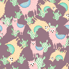Beautiful illustration with llama and cactus for digital wallpaper, web design. Abstract background. Graphic modern pattern illustration. Holiday seamless natural pattern.-Vector