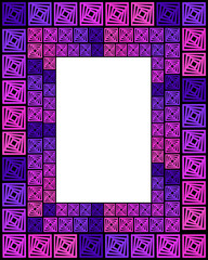 Frame of violet squares on a black background