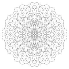Heart circular mandala for adults. Coloring book page design. Anti stress black and white vintage decorative element. Monochrome oriental ethnic pattern. Hand drawn isolated vector illustration.
