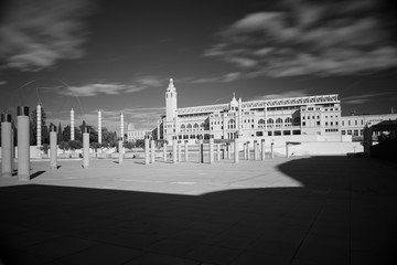 Black and white infrared photo,Spain, Barcelona, Plaza Europe