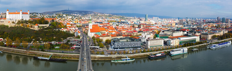 Panoramic view on Bratislava old town over the Danube river