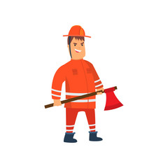 Smiling Firefighter Wearing Orange Protective Uniform and Helmet Standing with Axe, Cheerful Professional Male Freman Cartoon Character Doing His Job Vector Illustration