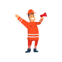 Smiling Firefighter Wearing Orange Protective Uniform Standing with Megaphone, Cheerful Professional Male Freman Cartoon Character Doing His Job Vector Illustration