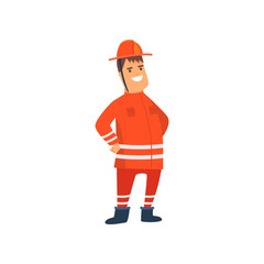 Smiling Firefighter Wearing Orange Protective Uniform and Helmet, Cheerful Professional Male Freman Cartoon Character Doing His Job Vector Illustration