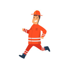 Firefighter Wearing Orange Protective Uniform and Helmet Running, Cheerful Professional Male Freman Cartoon Character Doing His Job Vector Illustration