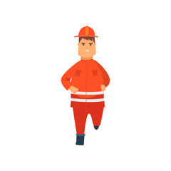 Firefighter Wearing Orange Protective Uniform and Helmet Running, Front View, Professional Male Freman Cartoon Character Doing His Job Vector Illustration