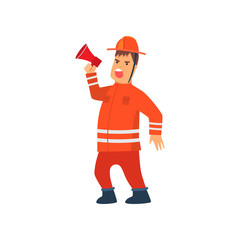 Firefighter Wearing Orange Protective Uniform Standing with Megaphone Loudspeaker, Cheerful Professional Male Freman Cartoon Character Doing His Job Vector Illustration