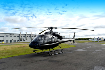 Wall Murals Helicopter Helicopter on airfield
