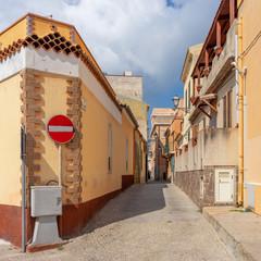 La Maddalena. Narrow medieaval streets of town