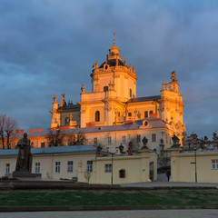 St. George's Cathedral in morning light. Lviv, Ukraine
