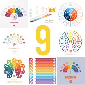 Set 8 universal templates elements for Infographics conceptual cyclic processes for 9 positions