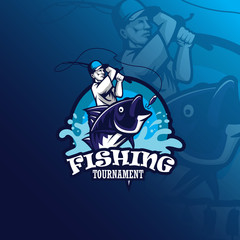 fishing vector mascot logo design with modern illustration concept style for badge, emblem and tshirt printing. fishing illustration for logo.