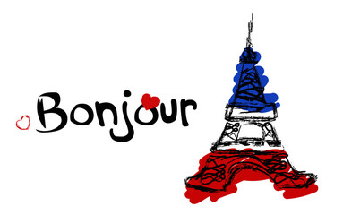 Illustration Bonjour text France Eiffel tower