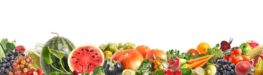 Fototapete - Banner from various vegetables and fruits isolated on white background, collage. Concept of healthy eating, food background. Border of vegetables with space for text.