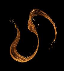 Fototapete - Splash of oily liquid on black background