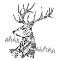 Handmade graphic: deer with ethno ornament in style zen art