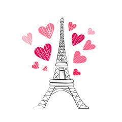 Vertical shot of hand drawn Eiffel Tower in Paris with pink hearts isolated over white background. Romance and love concept.