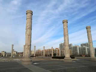 totem poles in the square