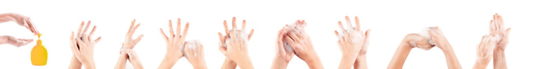 girl hand washing isolated on white background